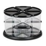 9 Canister Carousel Organizer, Six 3 & Three 6 Clear Canisters, Black Lids