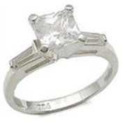 Sterling Silver Princess Cut CZ Engagement Ring Size 7